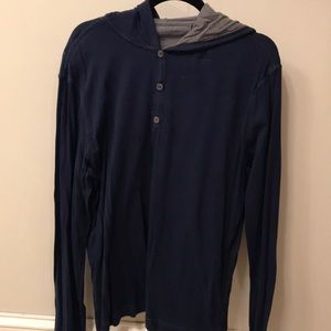 men's light sweatshirt- Navy blue henley hoodie